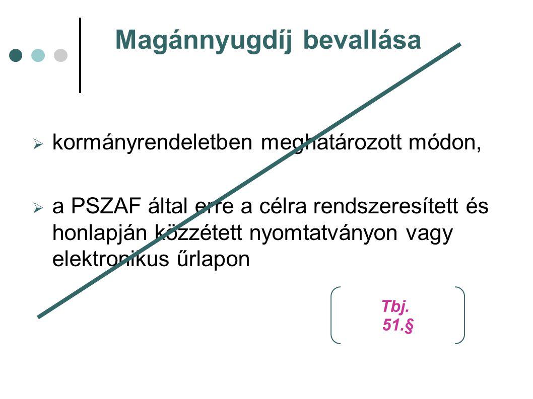 Magánnyugdíj bevallása  kormányrendeletben meghatározott módon,  a PSZAF által erre a célra rendszeresített és honlapján közzétett nyomtatványon vag