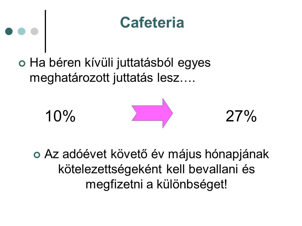 Cafeteria Ha béren kívüli juttatásból egyes meghatározott juttatás lesz…. 10%27% Az adóévet követő év május hónapjának kötelezettségeként kell bevalla