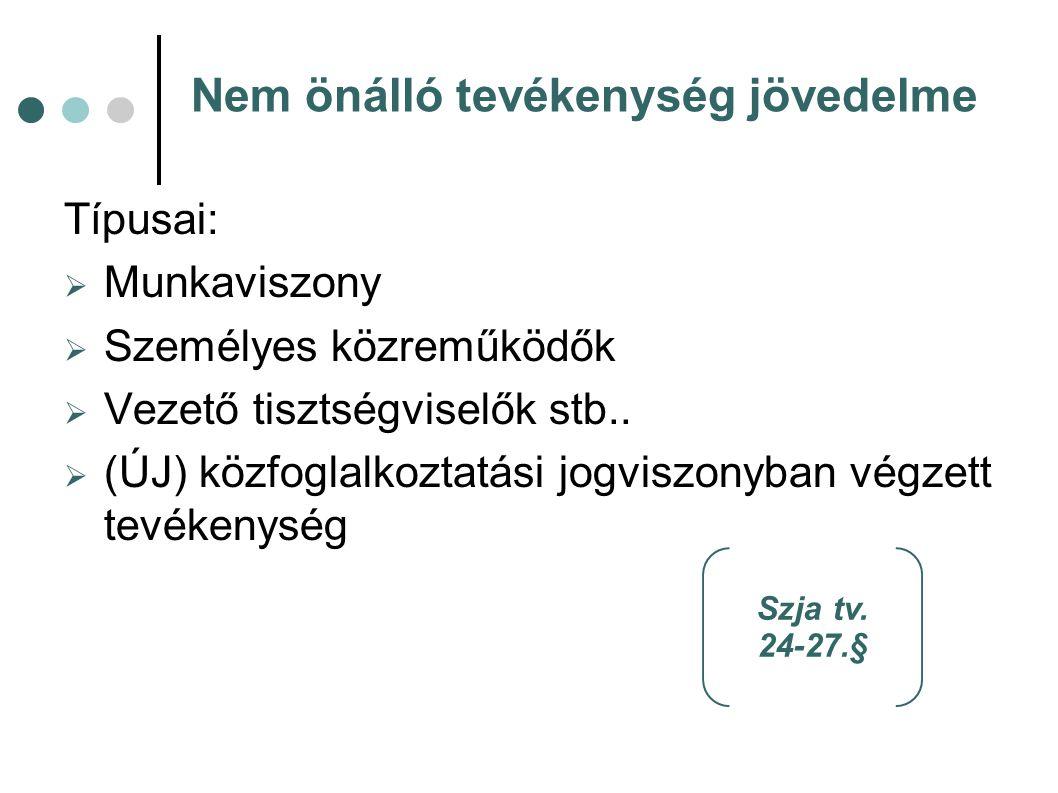 Nem önálló tevékenység jövedelme Típusai:  Munkaviszony  Személyes közreműködők  Vezető tisztségviselők stb..  (ÚJ) közfoglalkoztatási jogviszonyb
