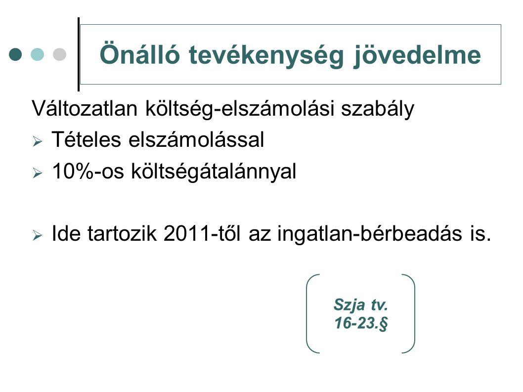 Önálló tevékenység jövedelme Változatlan költség-elszámolási szabály  Tételes elszámolással  10%-os költségátalánnyal  Ide tartozik 2011-től az ing
