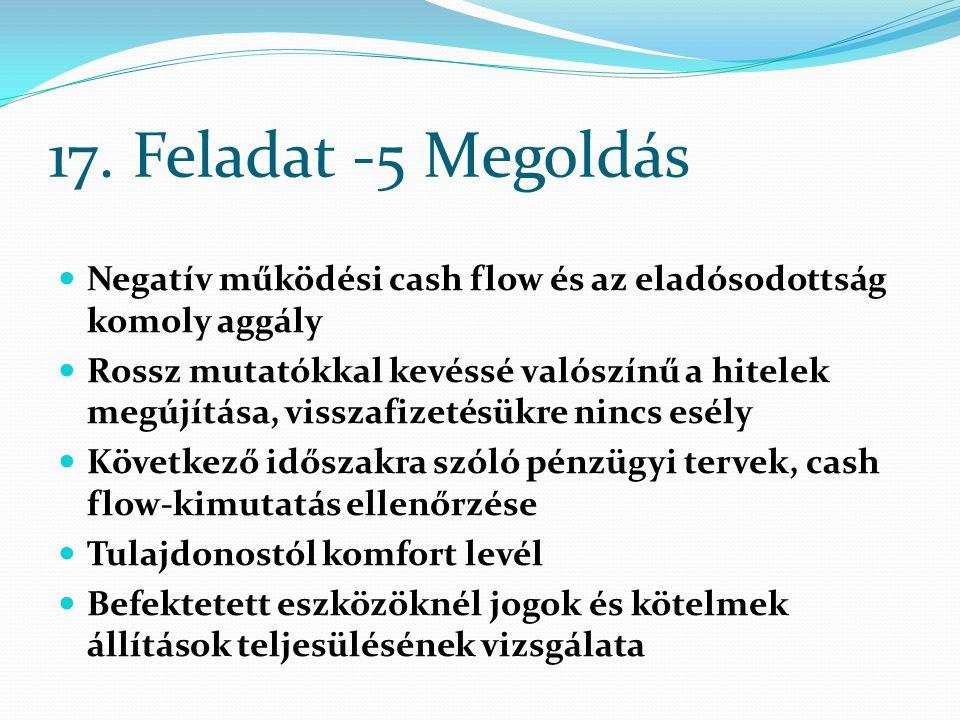 17. Feladat -5 Megoldás Negatív működési cash flow és az eladósodottság komoly aggály Rossz mutatókkal kevéssé valószínű a hitelek megújítása, visszaf