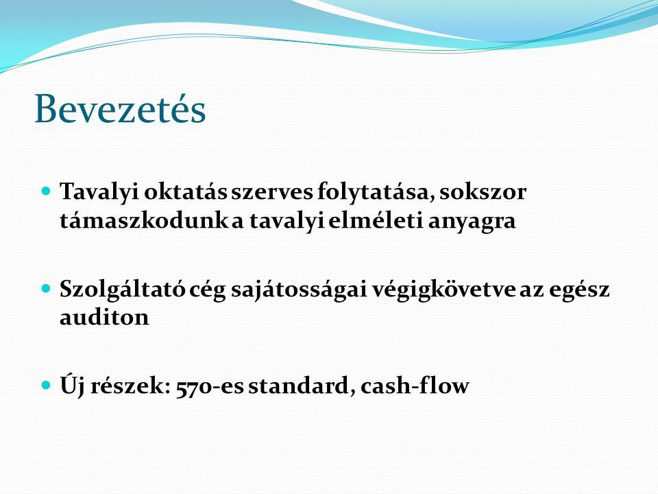 """Ellenőrzés főbb lépései 2 """"Nyers cash-flow előállítása: minden egyes mérlegsor változást valamelyik cash-flow sorba elhelyezni A befektetési és finanszírozási cash flow sorok finomítása: pénzmozgással nem járó tételek korrekciója, stb."""
