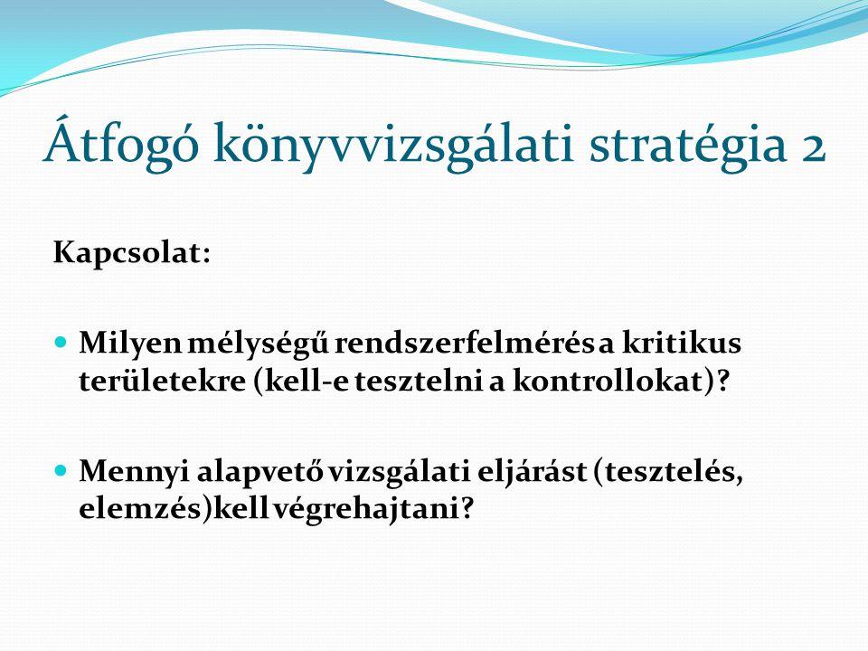Átfogó könyvvizsgálati stratégia 2 Kapcsolat: Milyen mélységű rendszerfelmérés a kritikus területekre (kell-e tesztelni a kontrollokat)? Mennyi alapve
