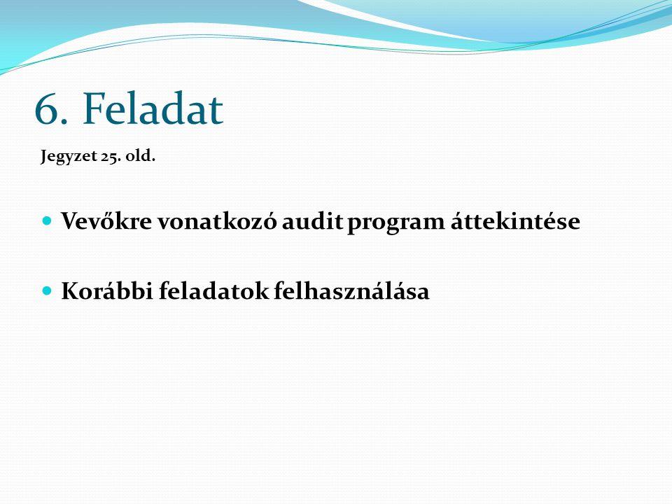 6. Feladat Jegyzet 25. old. Vevőkre vonatkozó audit program áttekintése Korábbi feladatok felhasználása