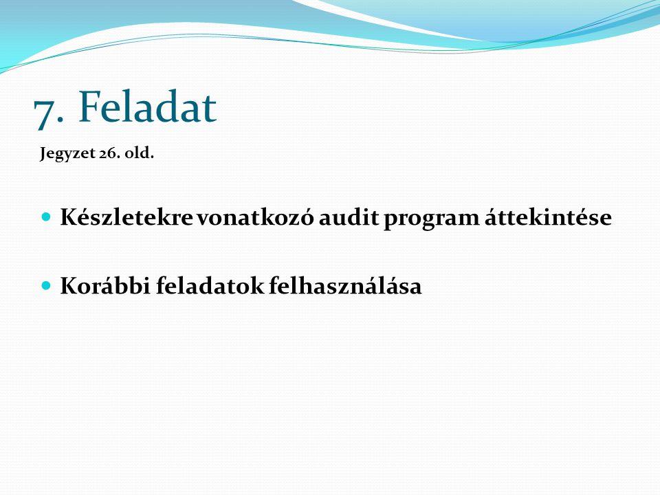 7. Feladat Jegyzet 26. old. Készletekre vonatkozó audit program áttekintése Korábbi feladatok felhasználása