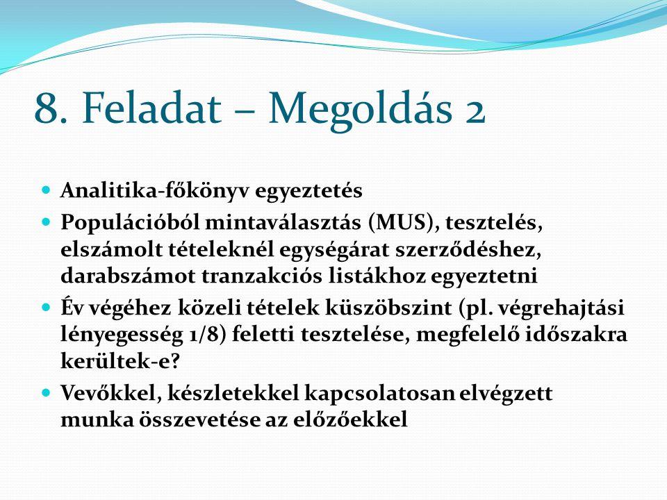 8. Feladat – Megoldás 2 Analitika-főkönyv egyeztetés Populációból mintaválasztás (MUS), tesztelés, elszámolt tételeknél egységárat szerződéshez, darab