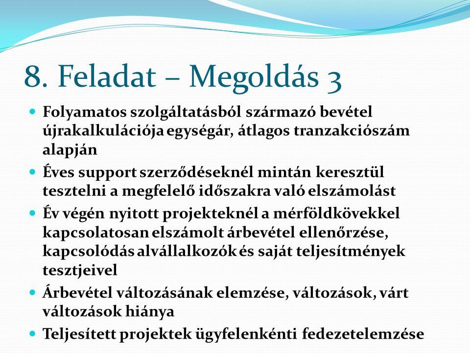8. Feladat – Megoldás 3 Folyamatos szolgáltatásból származó bevétel újrakalkulációja egységár, átlagos tranzakciószám alapján Éves support szerződések