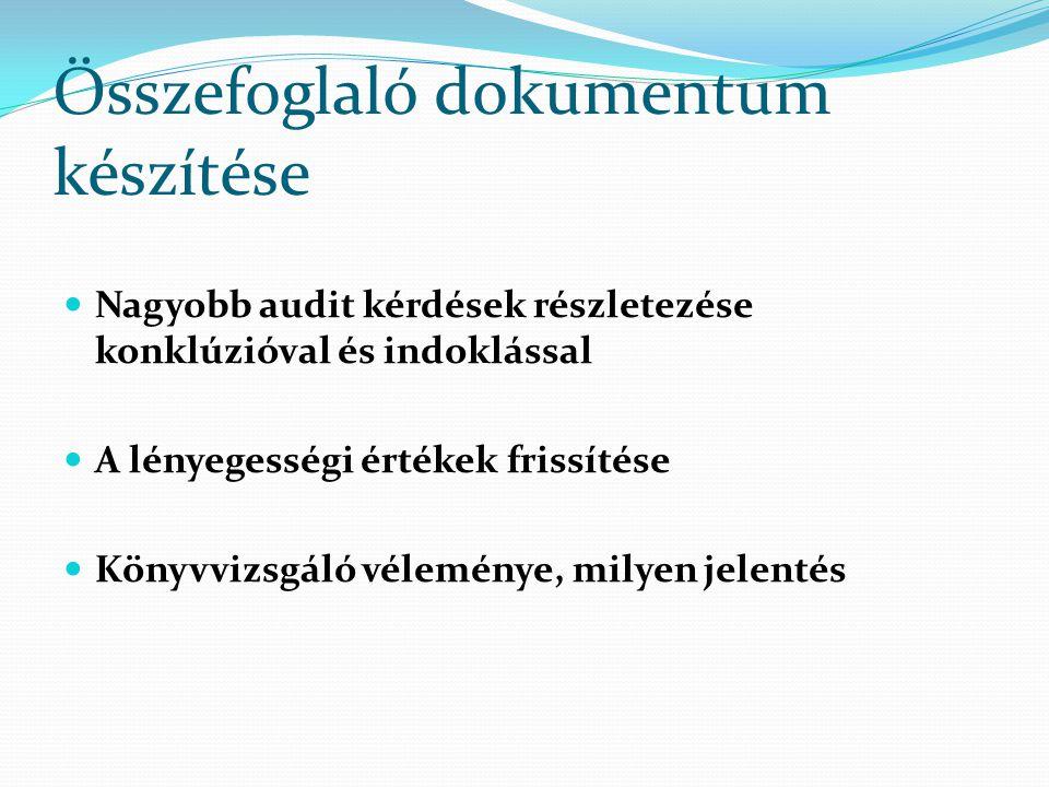 Összefoglaló dokumentum készítése Nagyobb audit kérdések részletezése konklúzióval és indoklással A lényegességi értékek frissítése Könyvvizsgáló véle