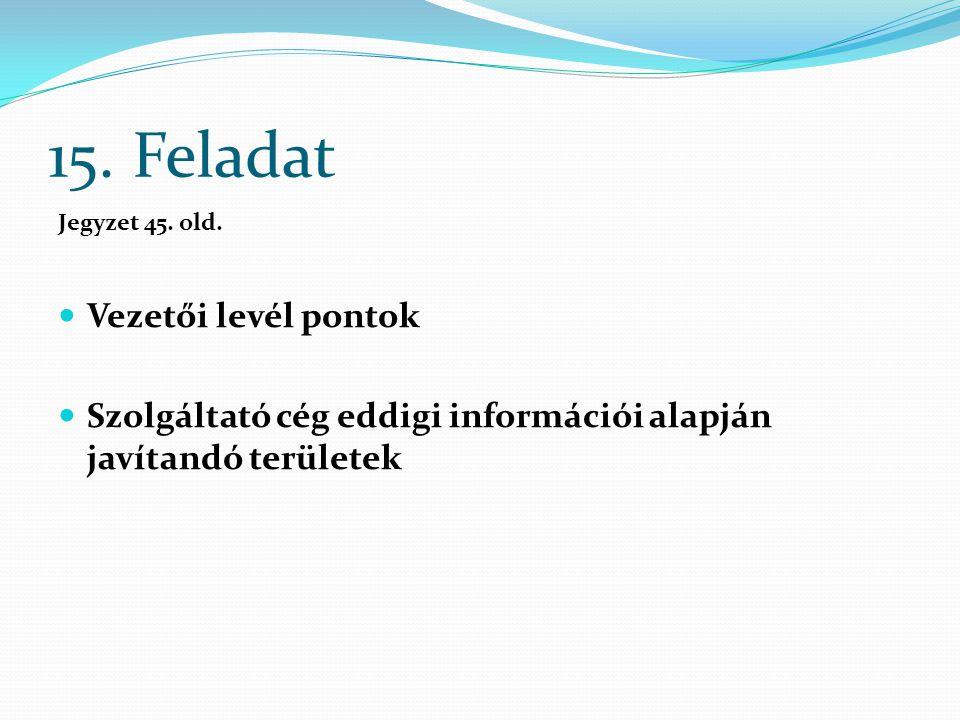 15. Feladat Jegyzet 45. old. Vezetői levél pontok Szolgáltató cég eddigi információi alapján javítandó területek