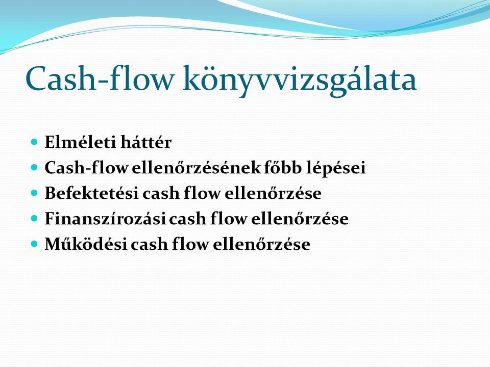 Cash-flow könyvvizsgálata Elméleti háttér Cash-flow ellenőrzésének főbb lépései Befektetési cash flow ellenőrzése Finanszírozási cash flow ellenőrzése