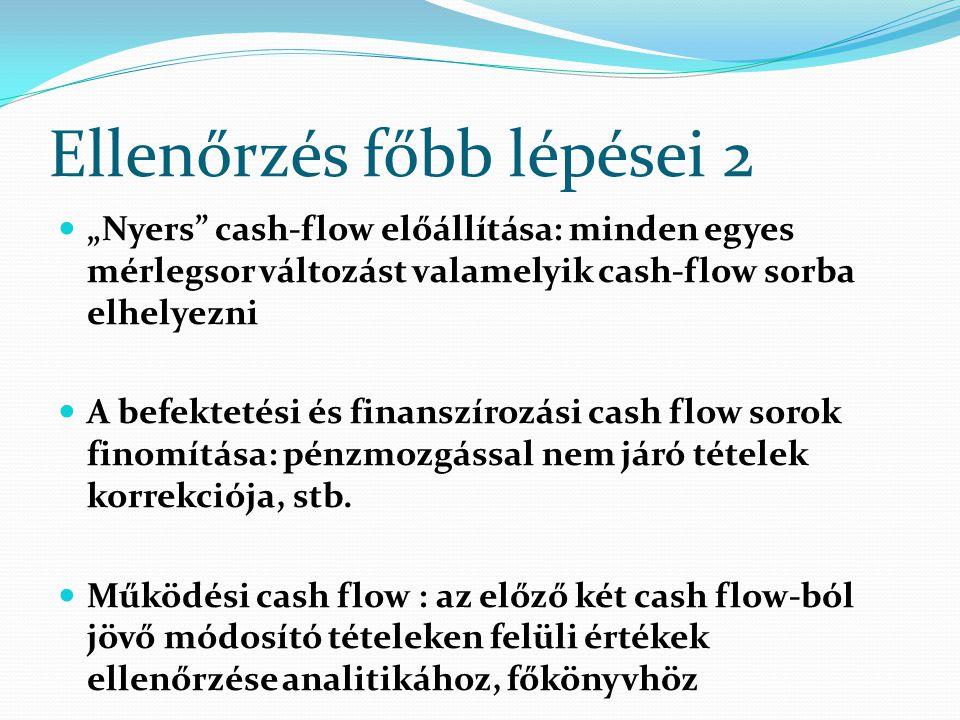 """Ellenőrzés főbb lépései 2 """"Nyers"""" cash-flow előállítása: minden egyes mérlegsor változást valamelyik cash-flow sorba elhelyezni A befektetési és finan"""