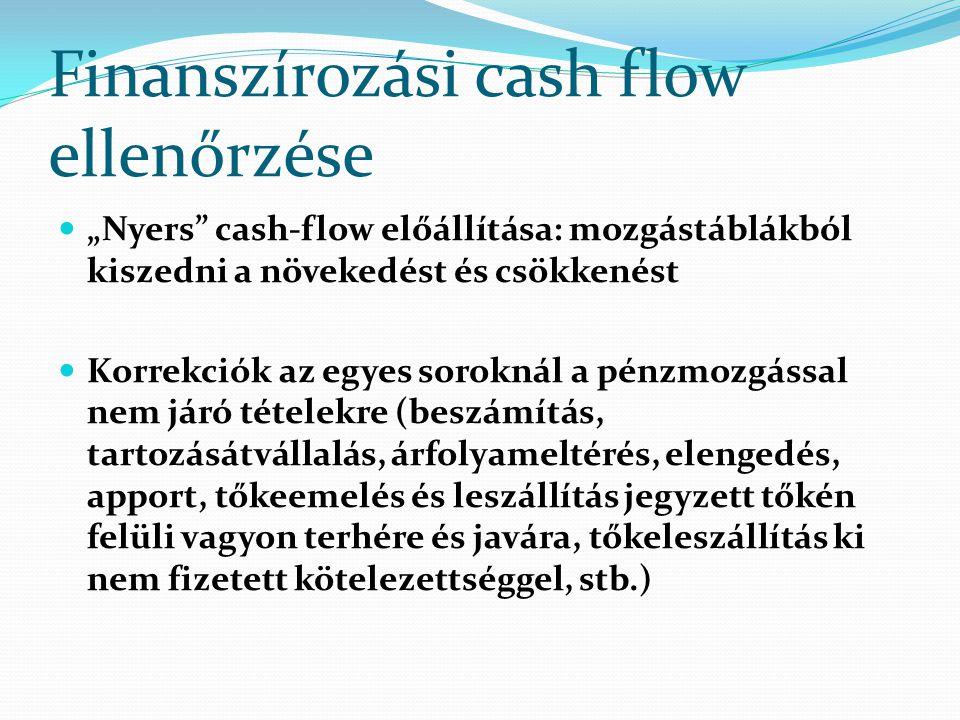 """Finanszírozási cash flow ellenőrzése """"Nyers"""" cash-flow előállítása: mozgástáblákból kiszedni a növekedést és csökkenést Korrekciók az egyes soroknál a"""