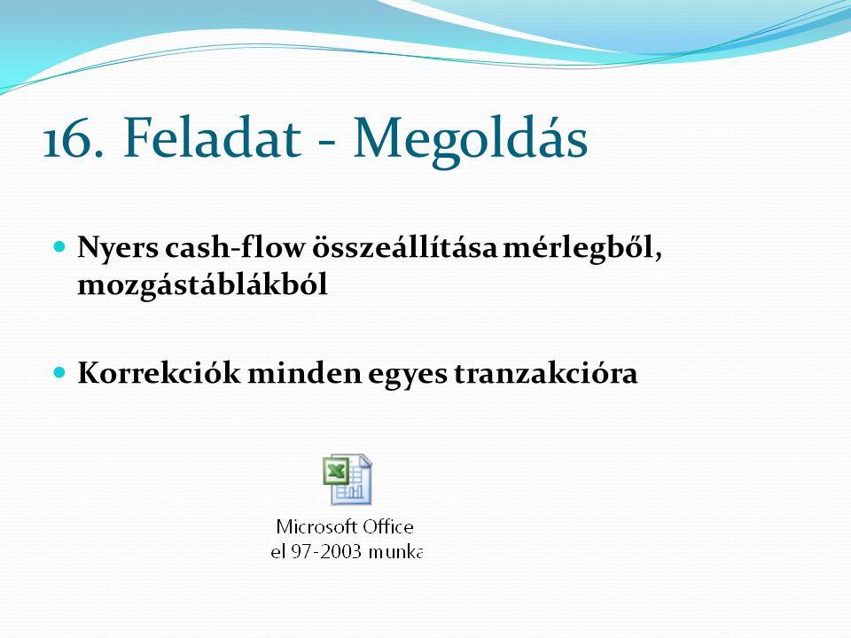 16. Feladat - Megoldás Nyers cash-flow összeállítása mérlegből, mozgástáblákból Korrekciók minden egyes tranzakcióra