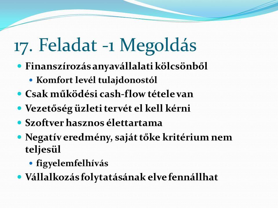 17. Feladat -1 Megoldás Finanszírozás anyavállalati kölcsönből Komfort levél tulajdonostól Csak működési cash-flow tétele van Vezetőség üzleti tervét