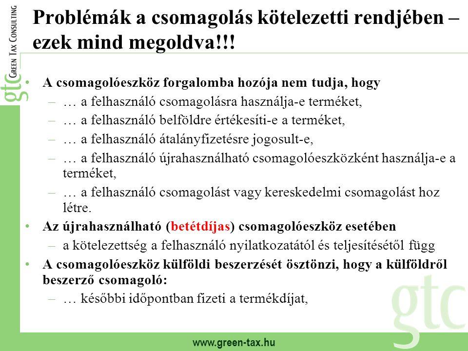 www.green-tax.hu Problémák a csomagolás kötelezetti rendjében – ezek mind megoldva!!.