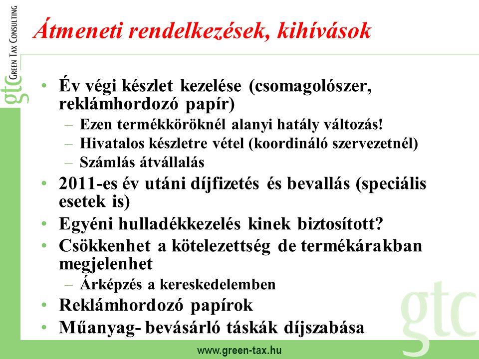 www.green-tax.hu Átmeneti rendelkezések, kihívások Év végi készlet kezelése (csomagolószer, reklámhordozó papír) –Ezen termékköröknél alanyi hatály változás.