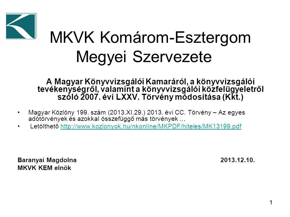 11 MKVK Komárom-Esztergom Megyei Szervezete A Magyar Könyvvizsgálói Kamaráról, a könyvvizsgálói tevékenységről, valamint a könyvvizsgálói közfelügyeletről szóló 2007.