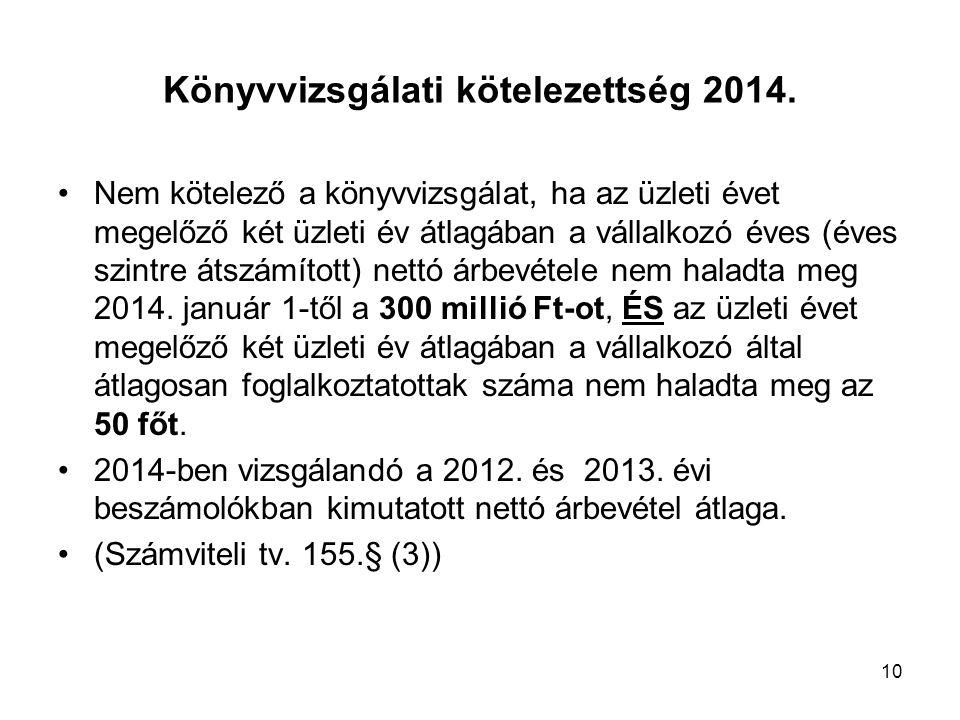 10 Könyvvizsgálati kötelezettség 2014.