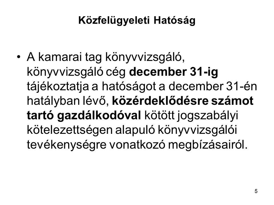 5 Közfelügyeleti Hatóság A kamarai tag könyvvizsgáló, könyvvizsgáló cég december 31-ig tájékoztatja a hatóságot a december 31-én hatályban lévő, közérdeklődésre számot tartó gazdálkodóval kötött jogszabályi kötelezettségen alapuló könyvvizsgálói tevékenységre vonatkozó megbízásairól.