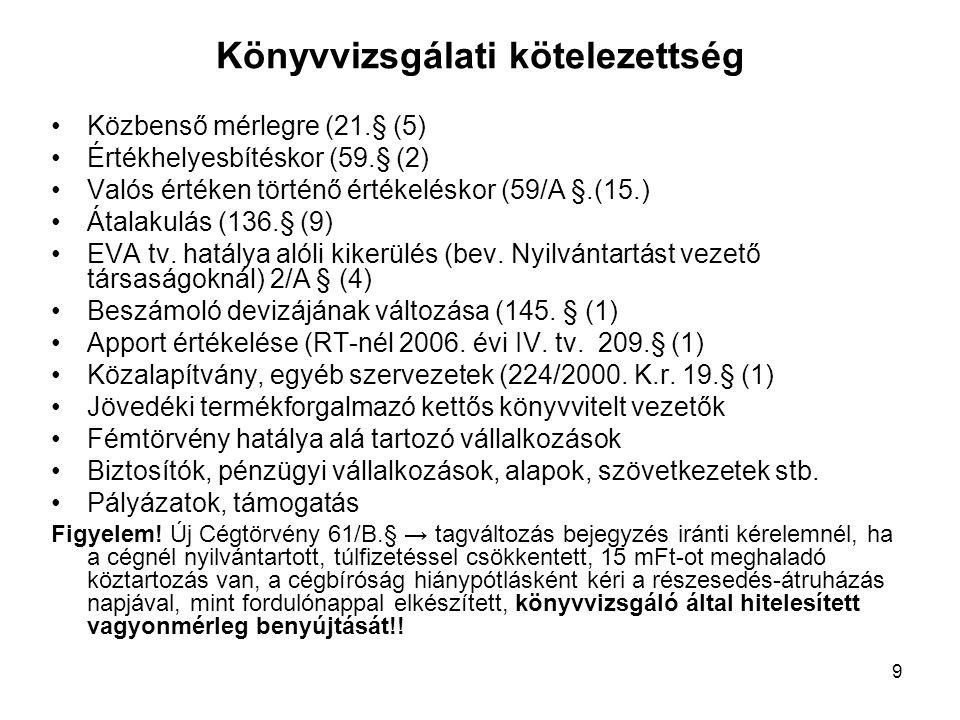 9 Könyvvizsgálati kötelezettség Közbenső mérlegre (21.§ (5) Értékhelyesbítéskor (59.§ (2) Valós értéken történő értékeléskor (59/A §.(15.) Átalakulás (136.§ (9) EVA tv.