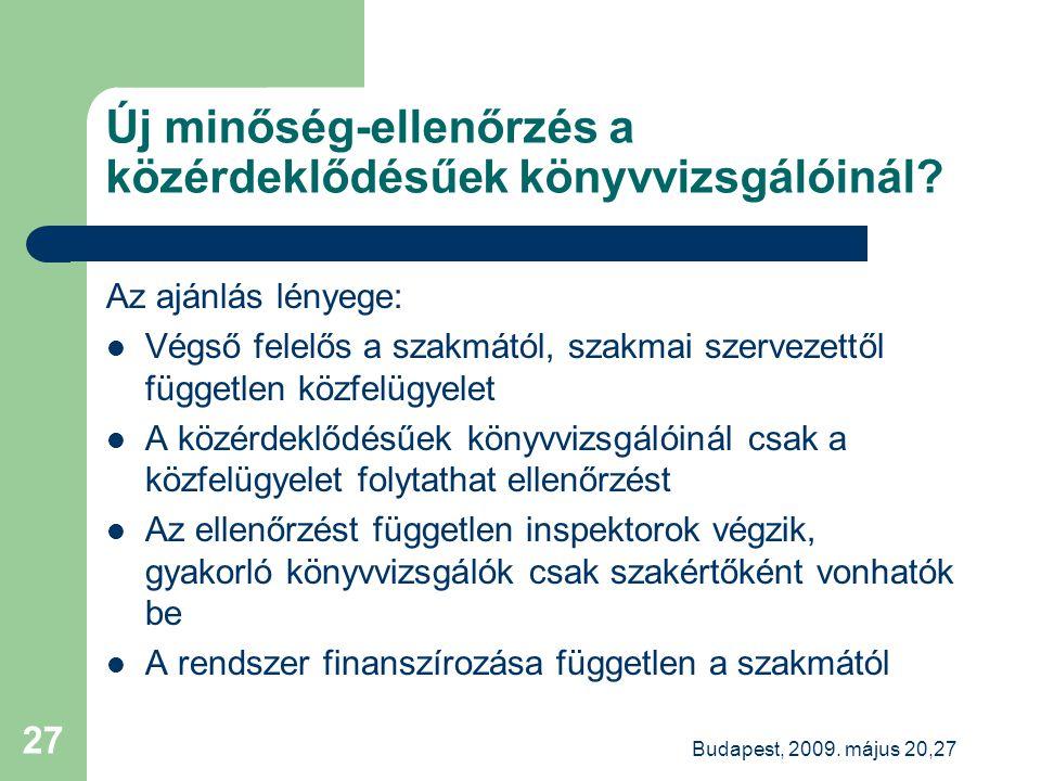 Budapest, 2009. május 20,27 27 Új minőség-ellenőrzés a közérdeklődésűek könyvvizsgálóinál.
