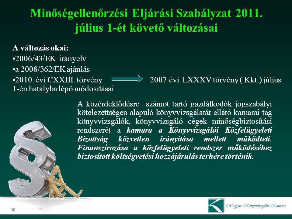 Minőségellenőrzési Eljárási Szabályzat 2011. július 1-ét követő változásai A változás okai: 2006/43/EK irányelv a 2008/362/EK ajánlás 2010. évi CXXIII