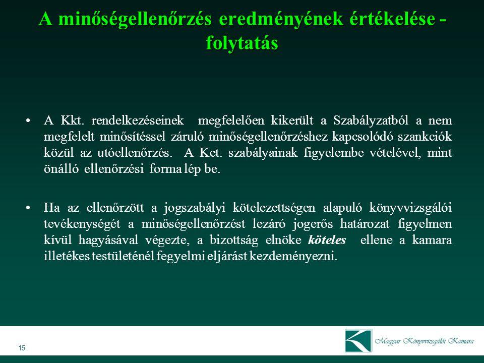 15 A Kkt. rendelkezéseinek megfelelően kikerült a Szabályzatból a nem megfelelt minősítéssel záruló minőségellenőrzéshez kapcsolódó szankciók közül az