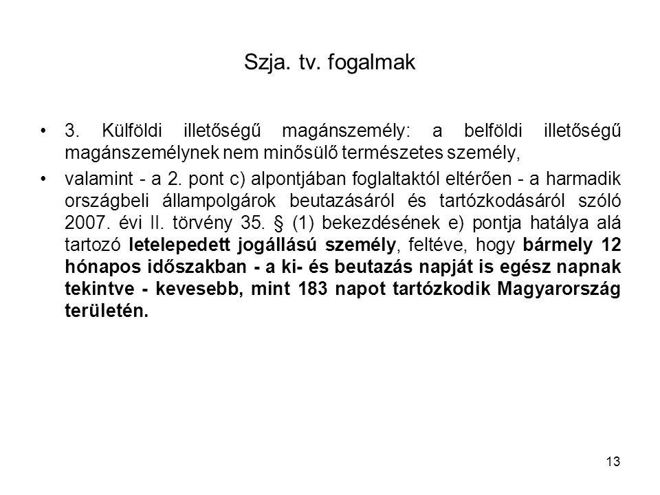 Szja. tv. fogalmak 3. Külföldi illetőségű magánszemély: a belföldi illetőségű magánszemélynek nem minősülő természetes személy, valamint - a 2. pont c