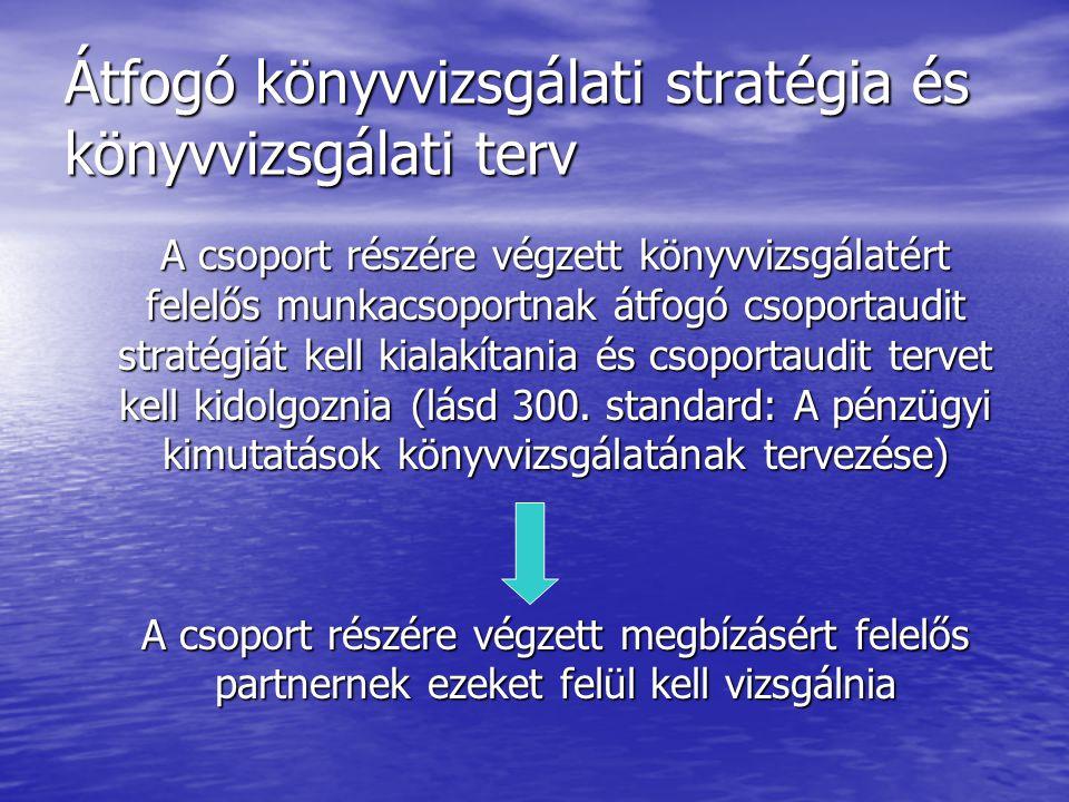 Átfogó könyvvizsgálati stratégia és könyvvizsgálati terv A csoport részére végzett könyvvizsgálatért felelős munkacsoportnak átfogó csoportaudit strat