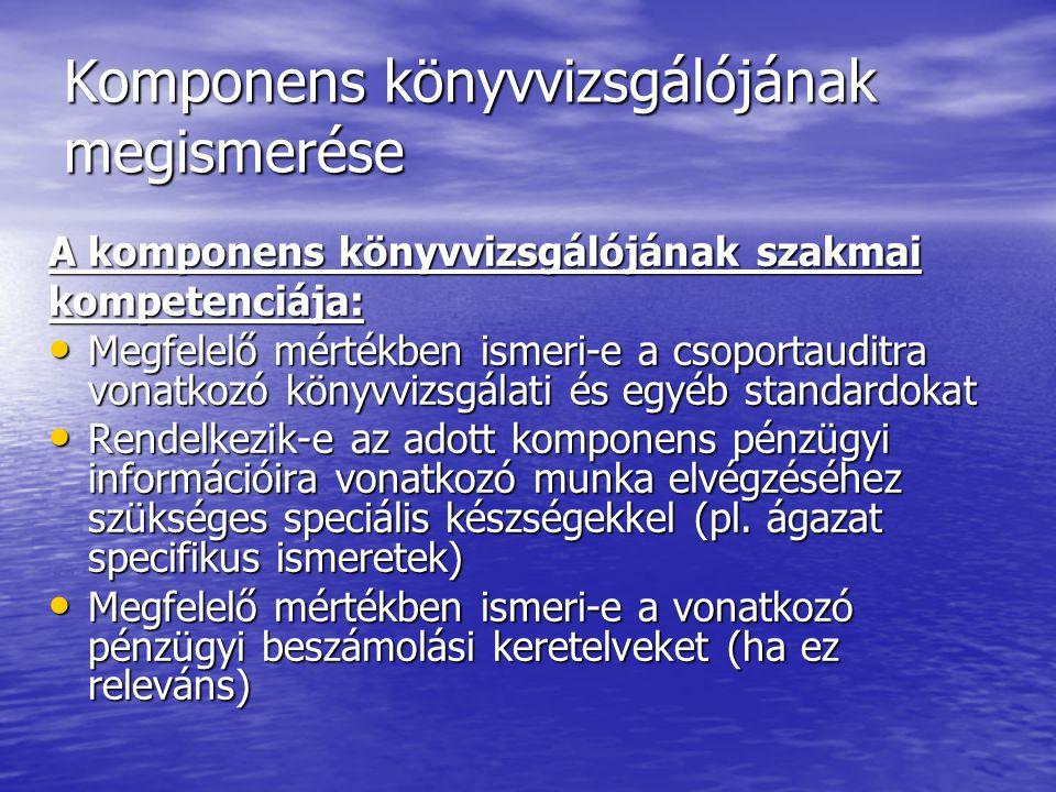 Komponens könyvvizsgálójának megismerése A komponens könyvvizsgálójának szakmai kompetenciája: Megfelelő mértékben ismeri-e a csoportauditra vonatkozó