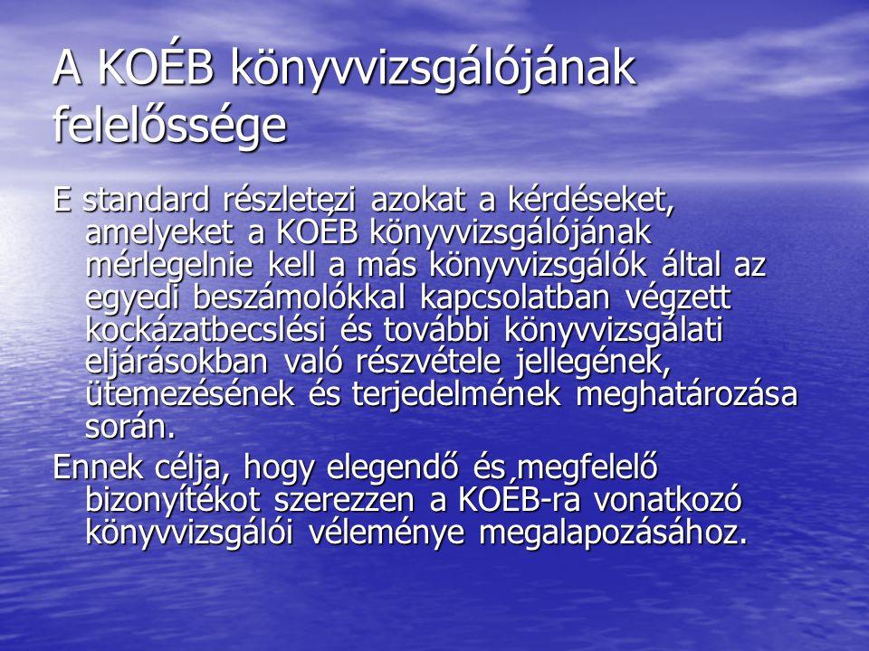 A KOÉB könyvvizsgálójának felelőssége E standard részletezi azokat a kérdéseket, amelyeket a KOÉB könyvvizsgálójának mérlegelnie kell a más könyvvizsg