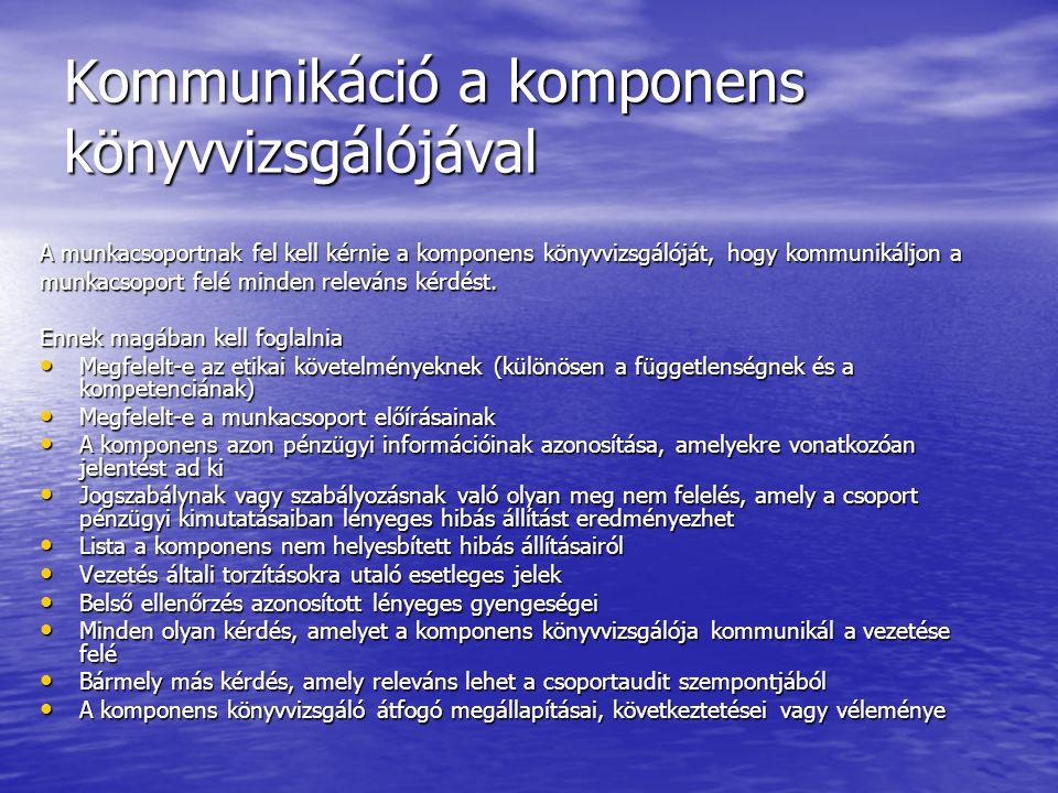 Kommunikáció a komponens könyvvizsgálójával A munkacsoportnak fel kell kérnie a komponens könyvvizsgálóját, hogy kommunikáljon a munkacsoport felé min