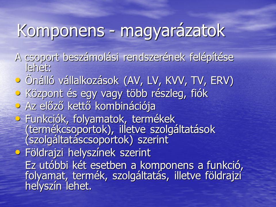 Komponens - magyarázatok A csoport beszámolási rendszerének felépítése lehet: Önálló vállalkozások (AV, LV, KVV, TV, ERV) Önálló vállalkozások (AV, LV