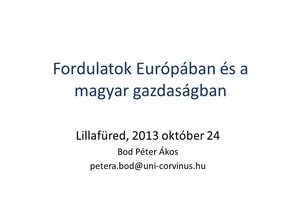 Fordulatok Európában és a magyar gazdaságban Lillafüred, 2013 október 24 Bod Péter Ákos petera.bod@uni-corvinus.hu