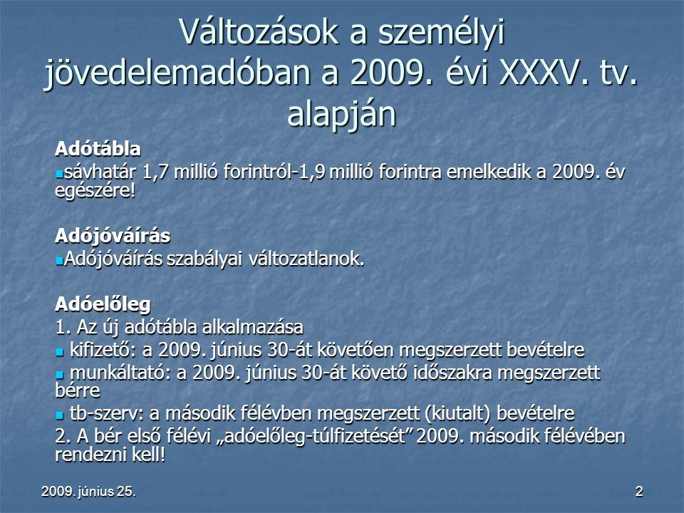 2009. június 25.2 Változások a személyi jövedelemadóban a 2009. évi XXXV. tv. alapján Adótábla sávhatár 1,7 millió forintról-1,9 millió forintra emelk