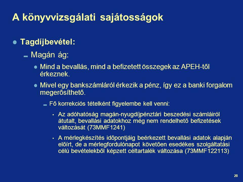 28 A könyvvizsgálati sajátosságok Tagdíjbevétel: Magán ág: Mind a bevallás, mind a befizetett összegek az APEH-től érkeznek.