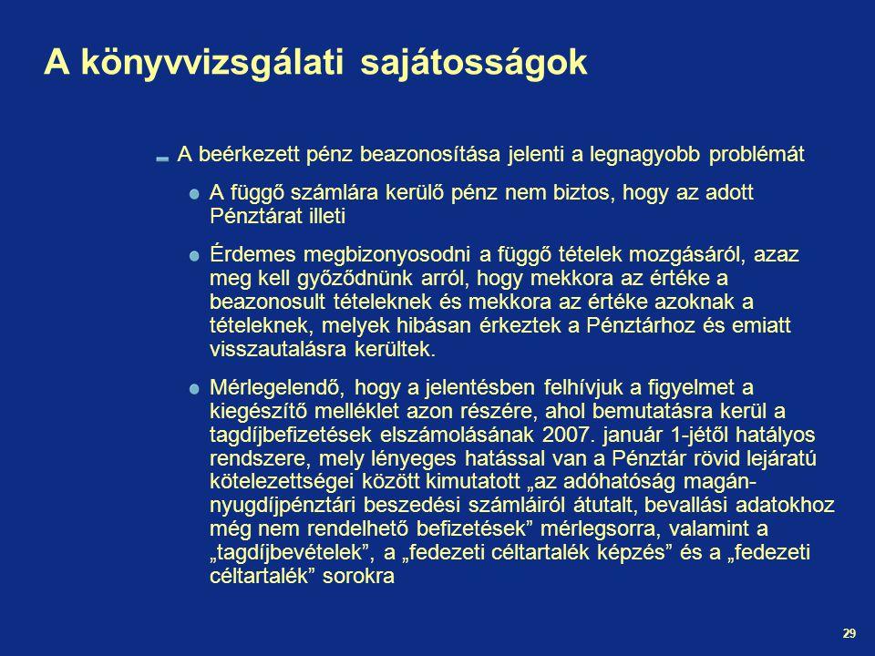 29 A könyvvizsgálati sajátosságok A beérkezett pénz beazonosítása jelenti a legnagyobb problémát A függő számlára kerülő pénz nem biztos, hogy az adot