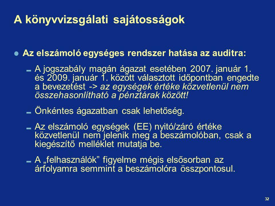 32 A könyvvizsgálati sajátosságok Az elszámoló egységes rendszer hatása az auditra: A jogszabály magán ágazat esetében 2007. január 1. és 2009. január