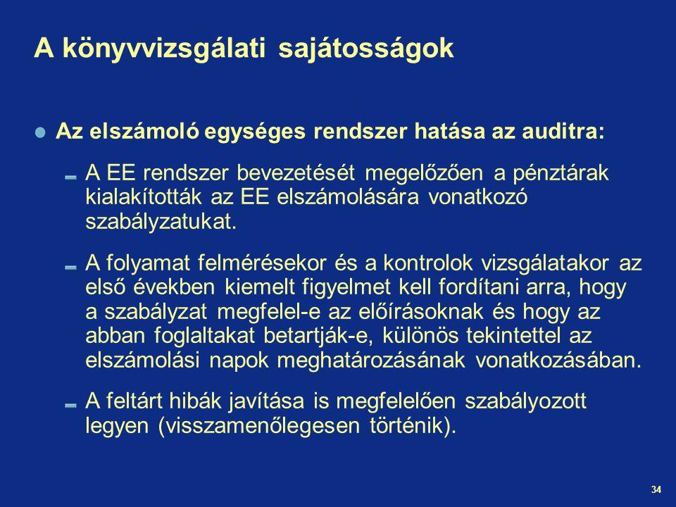 34 A könyvvizsgálati sajátosságok Az elszámoló egységes rendszer hatása az auditra: A EE rendszer bevezetését megelőzően a pénztárak kialakították az EE elszámolására vonatkozó szabályzatukat.