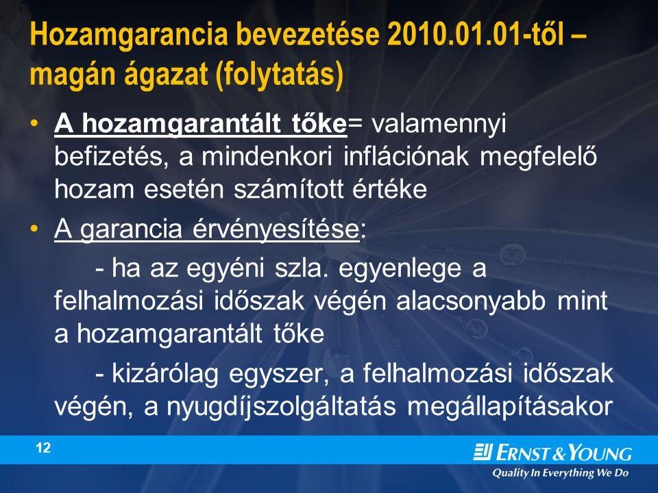 12 Hozamgarancia bevezetése 2010.01.01-től – magán ágazat (folytatás) A hozamgarantált tőke= valamennyi befizetés, a mindenkori inflációnak megfelelő hozam esetén számított értéke A garancia érvényesítése: - ha az egyéni szla.