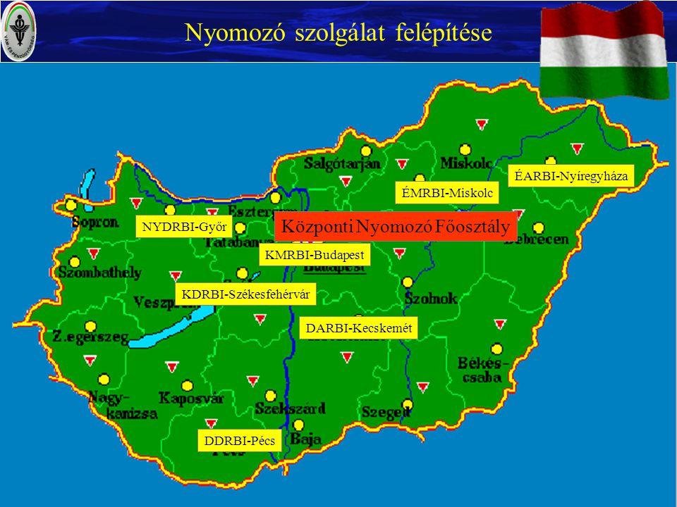 Központi Nyomozó Főosztály Nyomozó szolgálat felépítése NYDRBI-Győr ÉARBI-Nyíregyháza ÉMRBI-Miskolc KDRBI-Székesfehérvár DDRBI-Pécs DARBI-Kecskemét KM