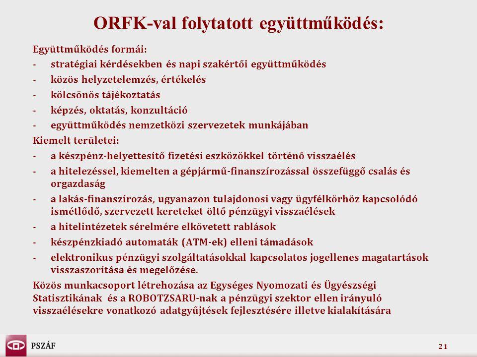 21 ORFK-val folytatott együttműködés: Együttműködés formái: -stratégiai kérdésekben és napi szakértői együttműködés -közös helyzetelemzés, értékelés -
