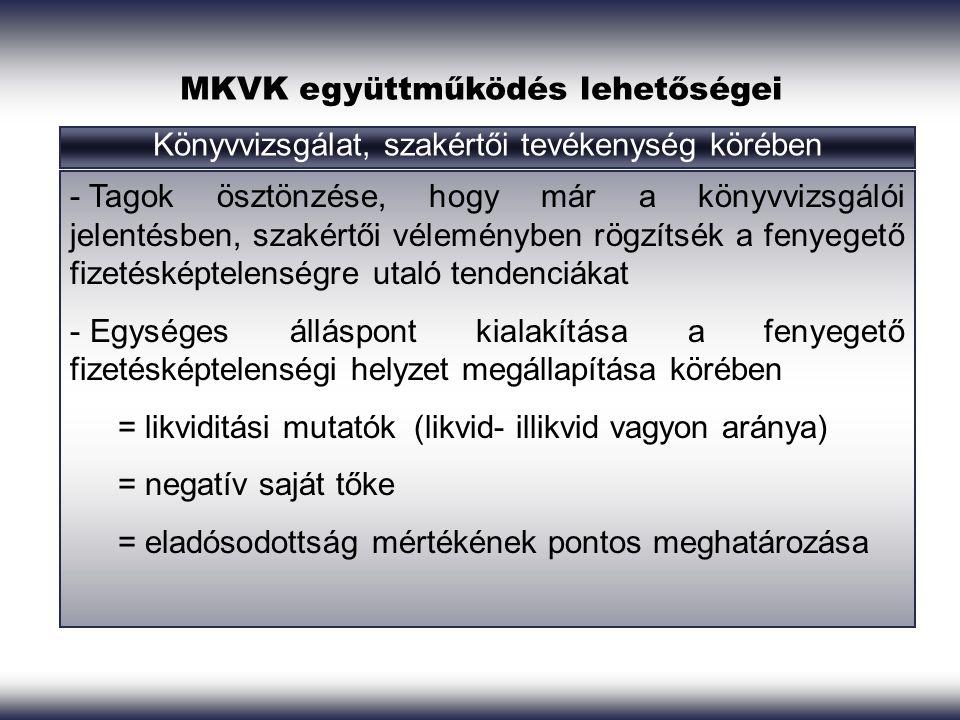 MKVK együttműködés lehetőségei Könyvvizsgálat, szakértői tevékenység körében - Tagok ösztönzése, hogy már a könyvvizsgálói jelentésben, szakértői véle