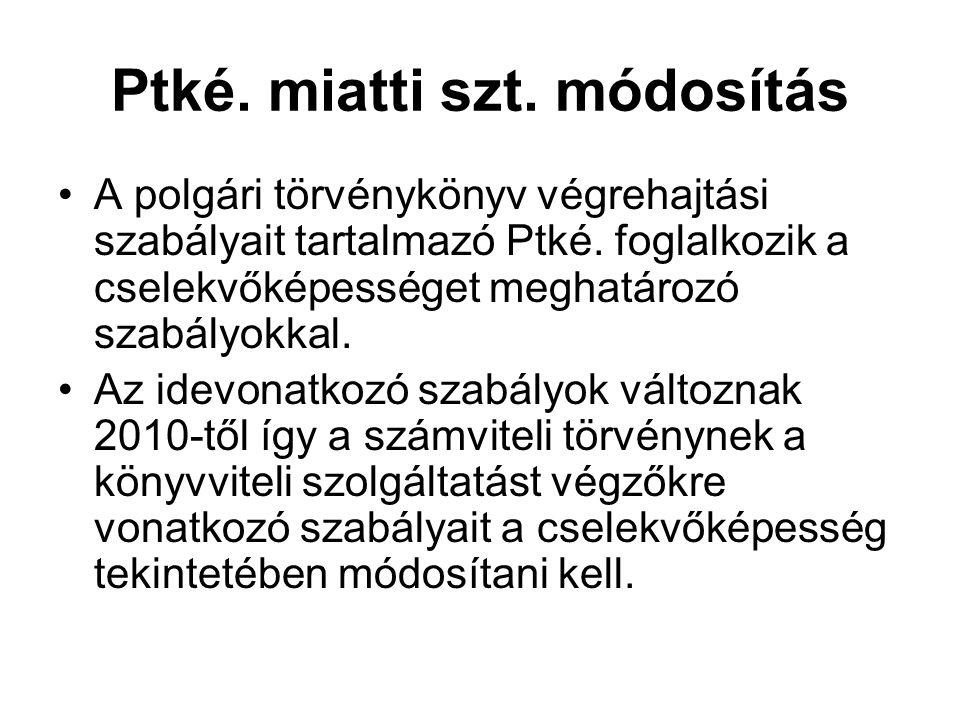 Ptké. miatti szt. módosítás A polgári törvénykönyv végrehajtási szabályait tartalmazó Ptké. foglalkozik a cselekvőképességet meghatározó szabályokkal.