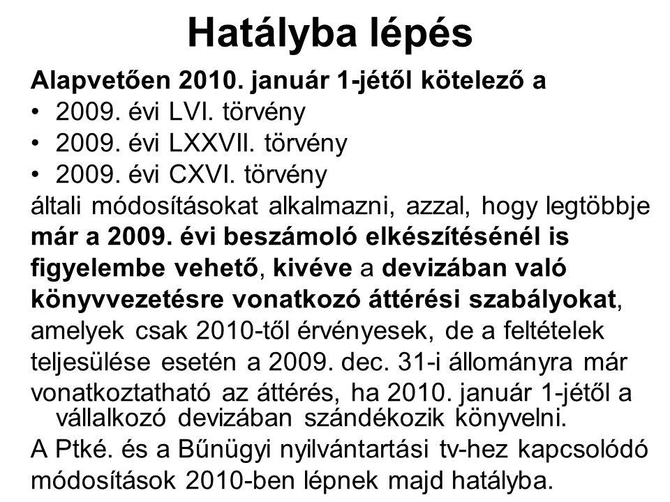 Hatályba lépés Alapvetően 2010. január 1-jétől kötelező a 2009. évi LVI. törvény 2009. évi LXXVII. törvény 2009. évi CXVI. törvény általi módosításoka