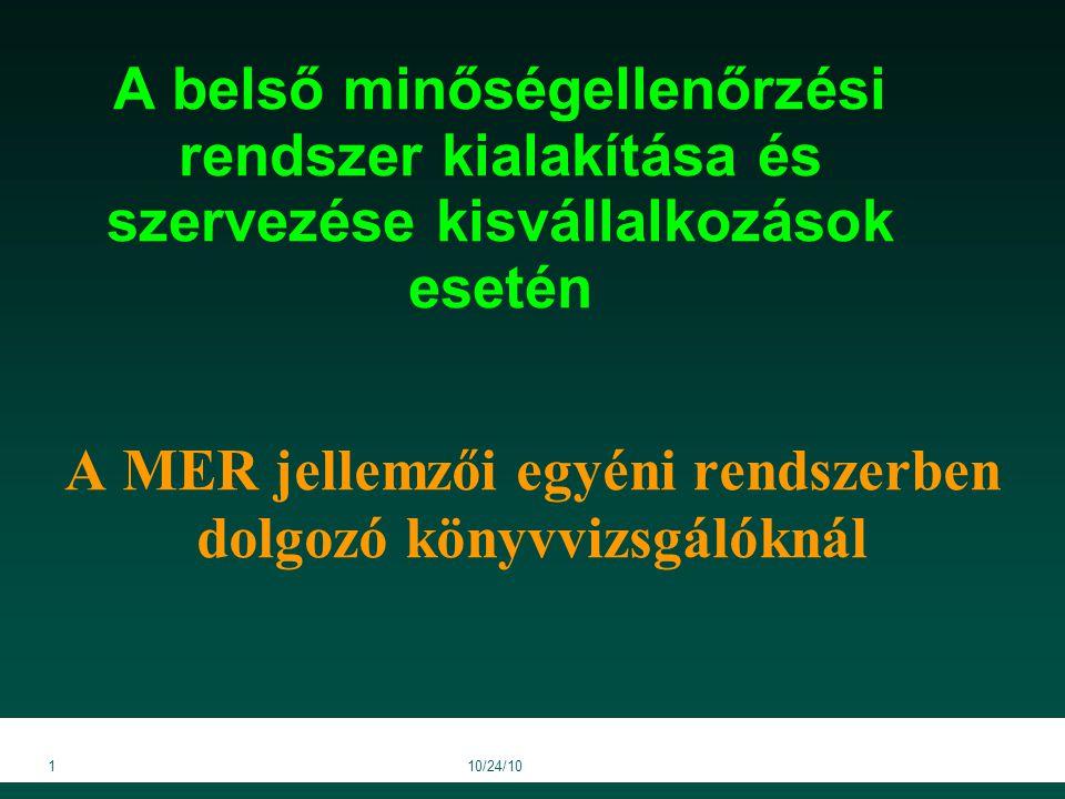 110/24/10 A belső minőségellenőrzési rendszer kialakítása és szervezése kisvállalkozások esetén A MER jellemzői egyéni rendszerben dolgozó könyvvizsgálóknál