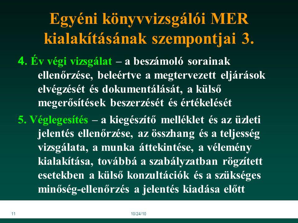 1110/24/10 Egyéni könyvvizsgálói MER kialakításának szempontjai 3.