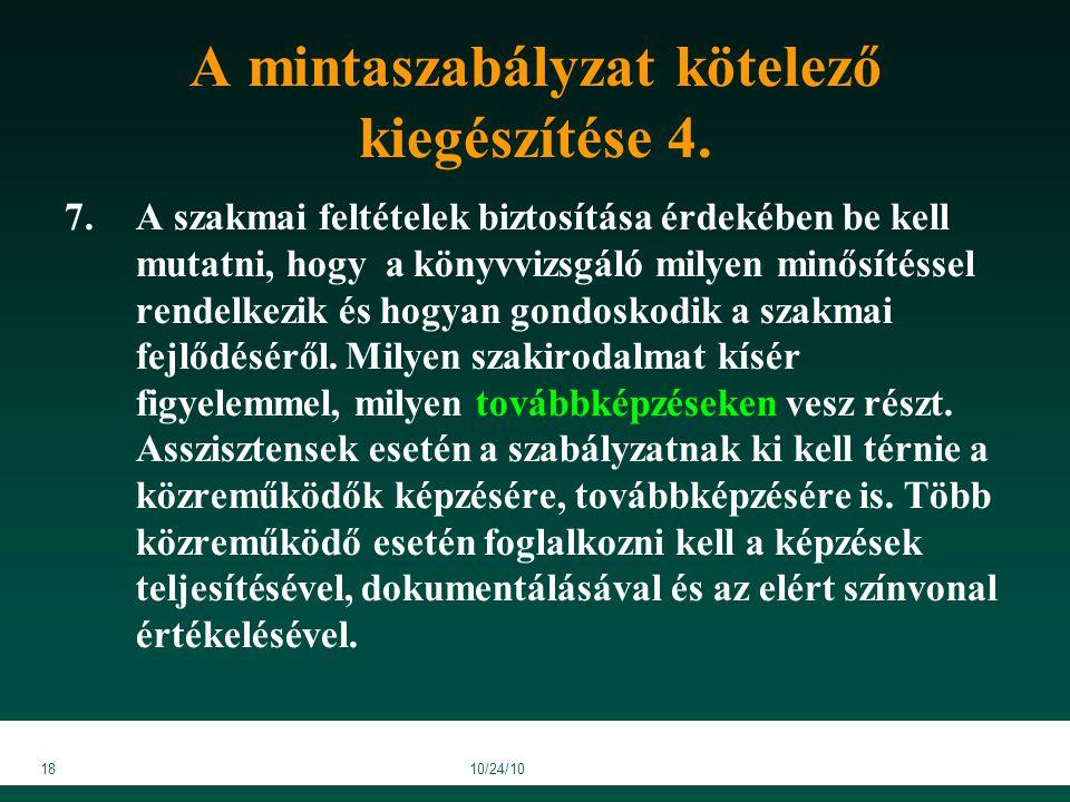 1810/24/10 A mintaszabályzat kötelező kiegészítése 4.