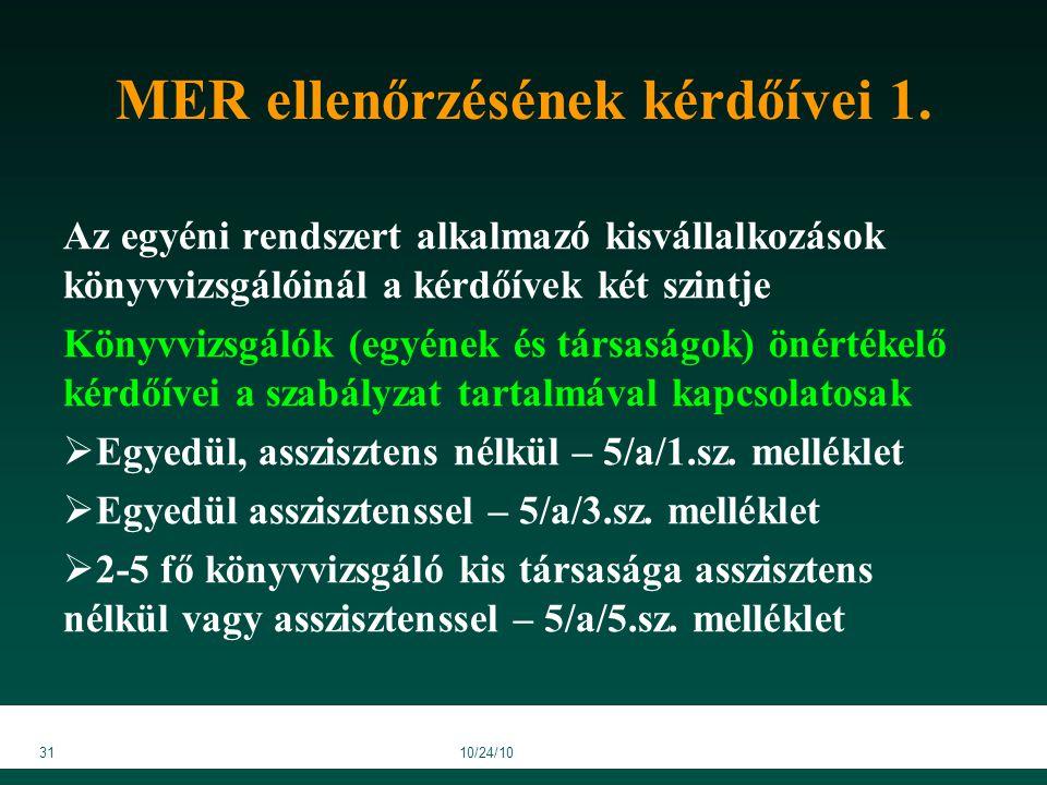 3110/24/10 MER ellenőrzésének kérdőívei 1.