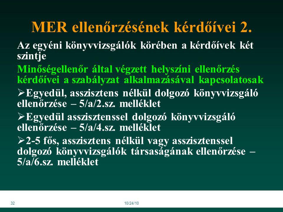 3210/24/10 MER ellenőrzésének kérdőívei 2.